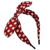 Qiabao Womens Red Polka Dot Bow Pin-Up Hair Band Headband (red)