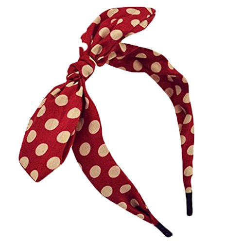Qiabao Womens Red Polka Dot Bow Pin-Up Hair Band Headband (red)
