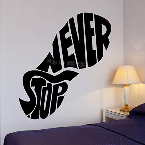 yaoxingfu Große Vinyl Aufkleber Footprint Stop Never Word Cloud Wandaufkleber Wohnkultur Wohnzimmer Selbstklebende Art Murals rot 56x65 cm