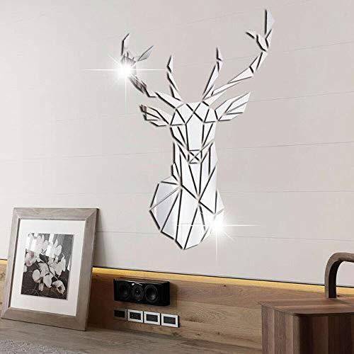 3D Abnehmbare Acryl-Spiegel-Aufkleber, DIY selbstklebende Wandkunst-Aufkleber für Zuhause, Wohnzimmer, Badezimmer, Schlafzimmer, Bauernhaus, Dekor (Hirsch)
