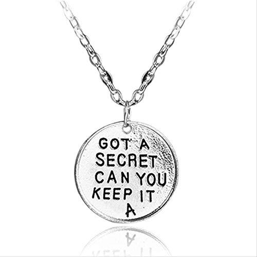 ZGYFJCH Co.,ltd Collar Pretty Little Liars Collar Tiene un Secreto ¿Puedes guardarlo Letras Colgante de Color Plateado Joyas para Hombres y Mujeres