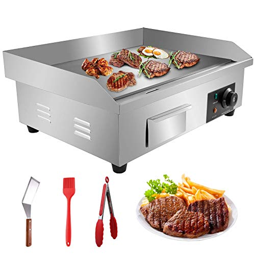 """Aliyaduo 110V 3000W 22"""" Commercial Electric Countertop Griddle Flat Top Grill Hot Plate BBQ,Adjustable Thermostatic Control,Stainless Steel Restaurant Grill for Kitchen"""