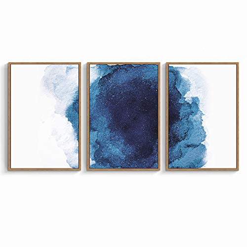 SIGNWIN 3 Piece Framed Canvas Wall Art Navy Blue Watercolor Painting Canvas Prints Home Artwork Decoration for Living Room,Bedroom - 16'x24'x3 Panels