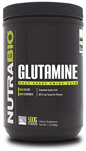 NutraBio L-Glutamine Powder - 500 Grams