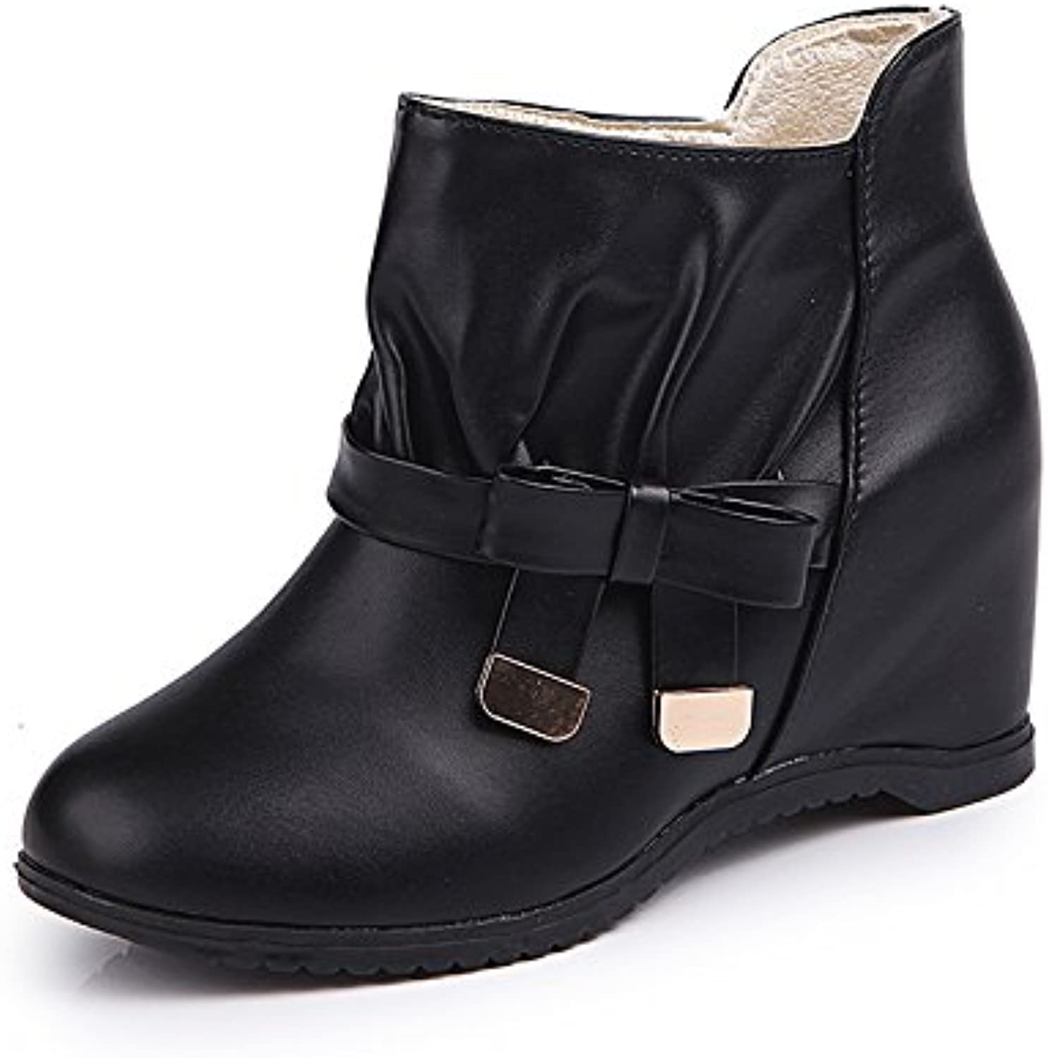 WYMBS Women's shoes Increased Within Short Boots High-Heeled Flat Martin Boots,Black,36