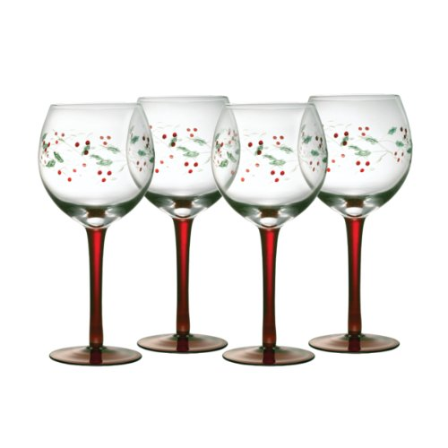 Pfaltzgraff Winterberry 13-ounce Handpainted Goblet, Set of 4