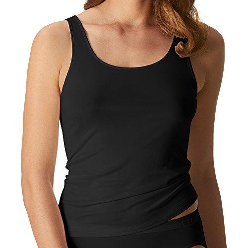 Mey Damen Sporty-Hemd – Größe 44 – Schwarz – Top mit breiten Trägern – Shirt ohne Seitennähte – Unterhemd für Damen – 55204 Emotion