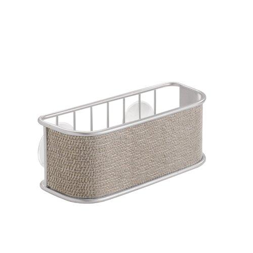 iDesign Twillo Spülschwammhalter | Ablagekorb für Schwamm, Tropfkratzer etc. | Küchenutensilien Aufbewahrung mit Saugnäpfen | Metall silber