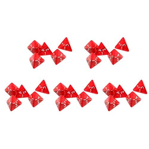 Juego de dados D4 de 25 piezas transparentes de 4 lados para partido, juego de mesa, juguetes, dados