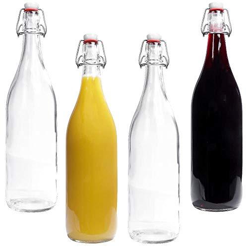 mikken 4 botellas de cristal de 1 litro con cierre hermético de porcelana, incluye etiquetas