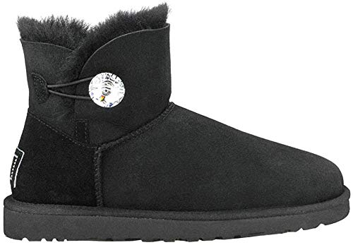 UGG Female Mini Bailey Button Bling Classic Boot, Black, 6 (UK)