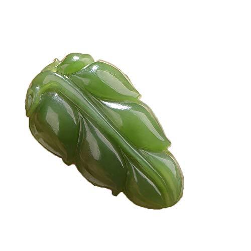 ZHIBO Colgante de jade hetiano natural con hojas de espinaca y jaspe verde