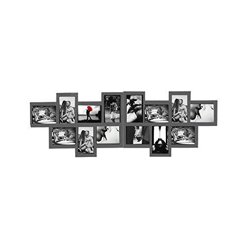 Rebecca Mobili Portafoto Multiplo, Cornice Mosaico per 14 Foto Formato 10x15, Legno Grigio, per Camera Soggiorno - Misure: 36 x 120 x 1,2 cm (HxLxP) - Art. RE4882