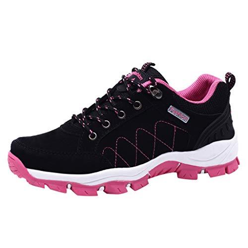 HDUFGJ Damen Trekking-& Wanderschuhe Atmungsaktiv rutschfeste Outdoor-Schuhe Sneaker Leichtgewicht Laufschuhe Bequem Mode Freizeitschuhe Faule Schuhe Turnschuhe Fitnessschuhe 38 EU(Schwarz)