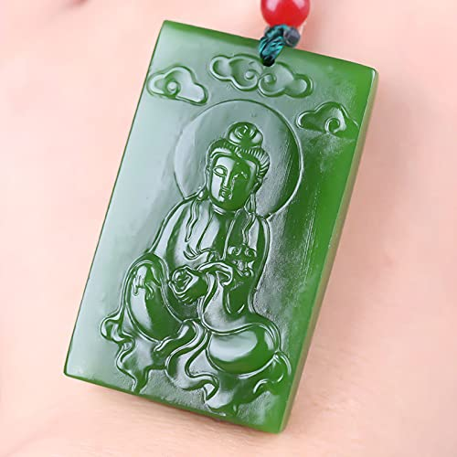 YYSD Colgante de Jade Verde Guanyin de Hielo Tallado a Mano Hueco de Marca, Collar de Jade para Mujer, Collares de Esmeralda, joyería de Jade