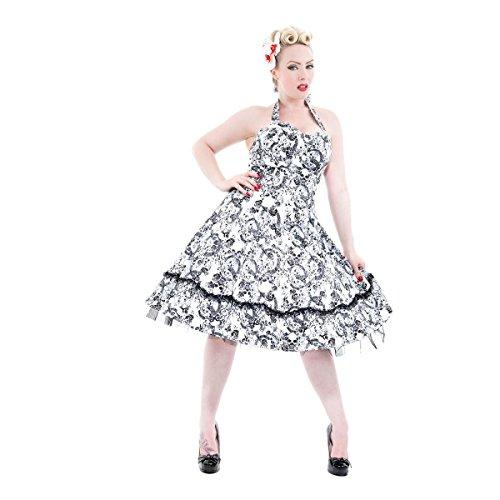 H & R London Abito enrapt ured Dress Bianco/Nero bianco-nero 42/44