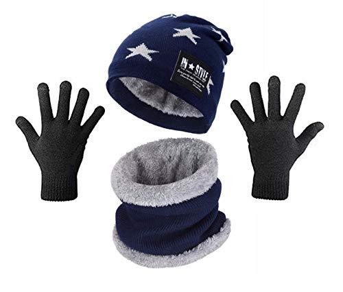 Wersoa Absolute Protection Star Printed Winter Knit Beanie Cap Hat Hand Gloves & Neck Warmer Scarf Set of 3 Woolen Cap for Men Women/Winter Wool Cap Unisex (Blue)