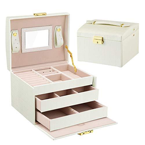 HebyTinco Caja Joyero Caja de Joyas, Cofres para joyas 3 Niveles Jewelry Organizer para Mujer , Organizador de Joyas, para anillos, pendientes, collares y pulseras (Blanco)