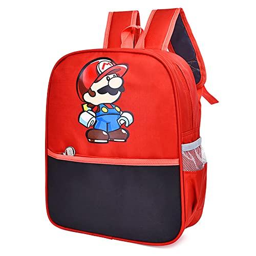 Hilloly Super Mario Rucksäcke, Mario Rucksack Kinder, Mario Rote Kindergartenrucksack, Cartoon Super Mario-Rucksäcke Schultasche Rote Mario Geschenke für Kinder Ideal für Schule Reisen