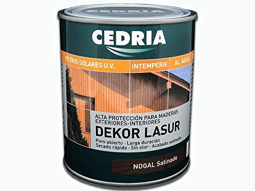 Lasur protector madera exterior al agua Cedria Dekor Lasur 750 ml Nogal