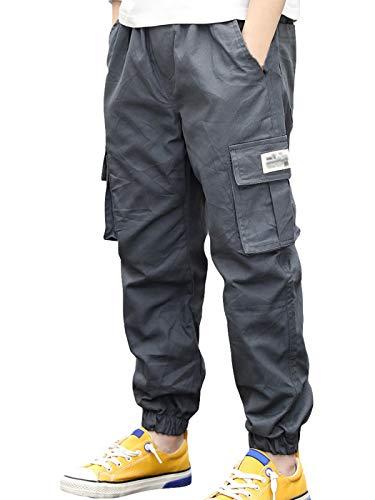 LAUSONS Hosen für Jungen Cargohose Jogger Freizeithose mit Gummizug Grau 158
