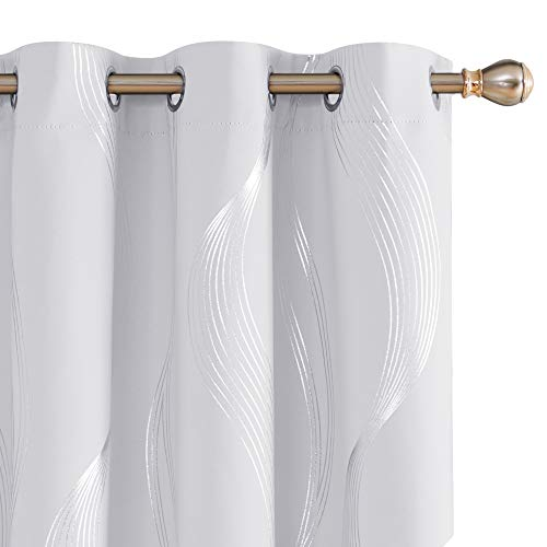 Deconovo Blackout Curtains Wave Striped Foil Print Off White Blackout Curtain Room Darkening Thermal Insulated Grommet Drapes for Bedroom 38x45 Inch 2 Panels