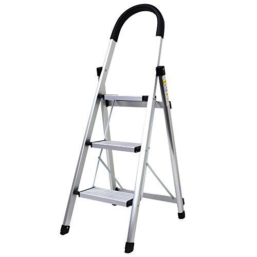 WEIMALL 脚立 3段 アルミ 軽量 折り畳み 耐荷重130kg 踏み台 はしご ステップ 持ち手付き (ブラック)