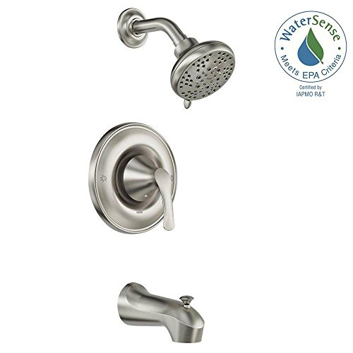 Moen Darcy Single-Handle 5-Spray 1.75 GPM Tub and Shower Faucet with Valve in Spot Resist Brushed Nickel (Valve Included)