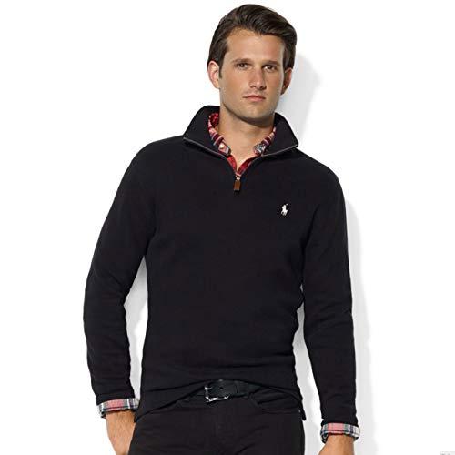 POLO RALPH LAUREN Men's Big & Tall Fleece 1/2 Zip Mock Sweater-Black-3XB