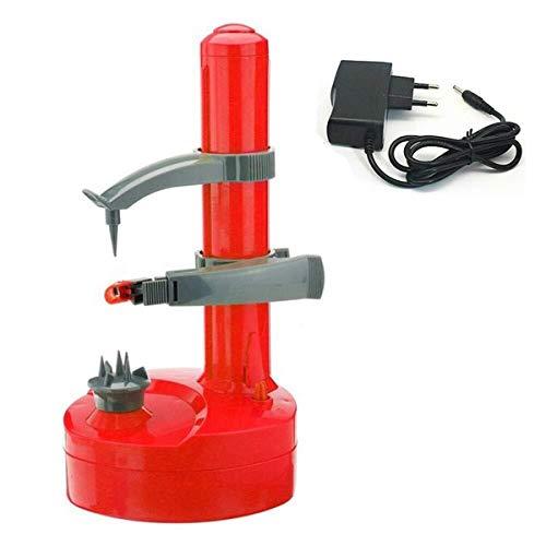 Haushalt Multifunktions-Edelstahl-elektrischer Schäler automatische Fruchtschäler Gemüseschneider Drei Ersatzklingen Kartoffelschäler Maschine (Color : Red)