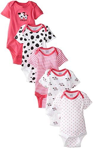 GERBER Baby Girls' 5-Pack Variety Onesies Bodysuits, Dalmation, 0-3 Months
