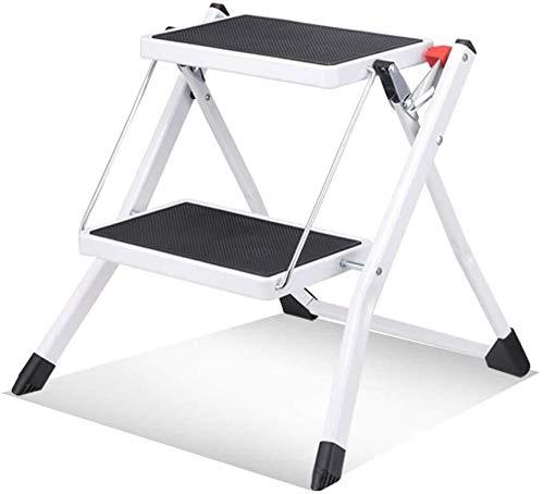 DNSJB - Taburete de escalera para interiores y interiores con escalera pequeña, antideslizante, portátil, plegable, diseño de espiga (color: blanco)