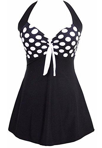AMAGGIGO Damen Neckholder Push Up Badekleid Figurformender Badeanzug mit Röckchen Bauchweg Einteiliger Badekleid(Schwarz-Weiß, EU 38-40(XL))