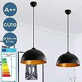 lampada a sospensione, set da 2 - cee: a++ a e, Ø 30 cm, e27, stile vintage industriale, nero dorato | lampadario da cucina, bar, sala da pranzo, ristorante