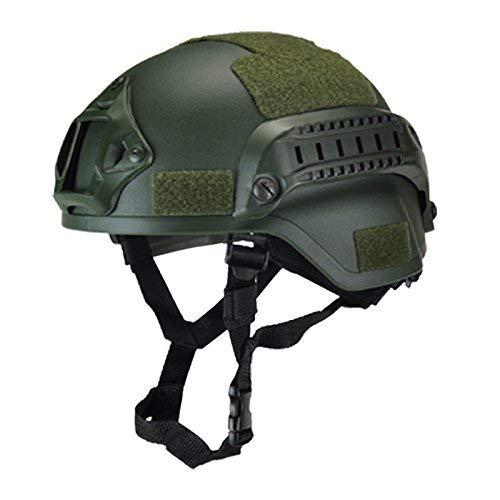 koiry Militare Tattico Casco Airsoft Cambio Paintball Testa Protezione con Visione Notturna Sport Supporto Telecamera - Verde