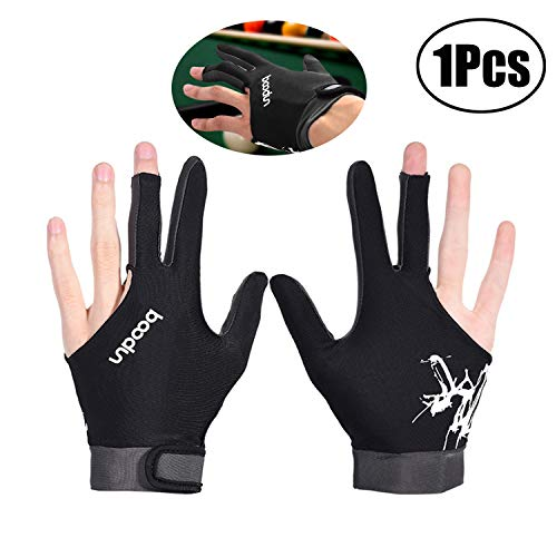 Clyhon Billardhandschuhe, 3-Finger Snooker Pool Queue Handschuh Billard Shooter Handschuh für Männer Frauen Atmungsaktiv mit Klettverschluss