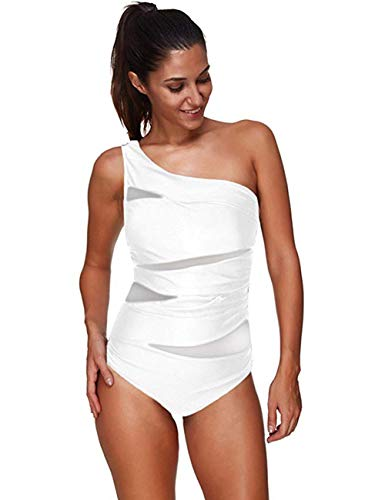 FeelinGirl Monokini Bikini Retro Badeanzug Einteiler Tankini Bademode Badeanzug One Shoulder Swimwear Swimsuit XL Weiß