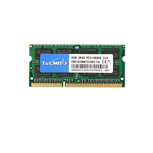 TECMIYO 4GB Kit (1X4GB) DDR3 1333MHz Sodimm RAM PC3-10600 PC3-10600S 1.5V CL9 204 Pin 2RX8 Dual Rank Non-ECC Memoria RAM sin búfer Ideal por actualización de computadora portátil