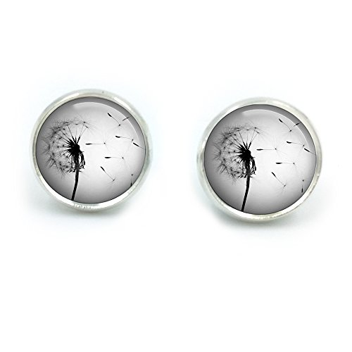 Butterfly N Beez Silver Plated Dandelion Air Glass Dome Round Cabochon Stud Earrings Gift UK