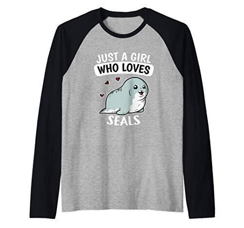 Just A Girl Who Loves Seals Divertido Disfraz De Foca Camiseta Manga Raglan