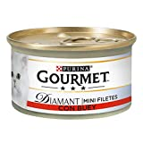 Purina Gourmet Diamant Finas Lonchas comida para gatos Carnes Asadas Buey 24 x 85 g