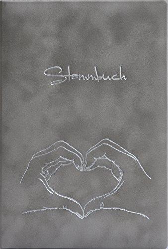 Stammbuch Herz mit Hand, grau, Velours, Silberprägung, Stammbuchformat
