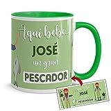 Kembilove Tazas de Café Personalizadas de Profesiones – Taza de Desayuno Aquí Bebe un Gran Pescador con Nombre Personalizado – Tazas de Desayuno para Profesionales – Tazas de 350 ml