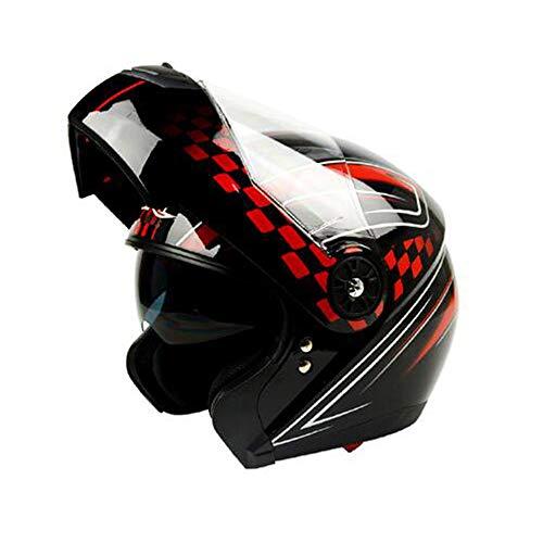 DANRAN Descubrimiento de la Motocicleta del Casco Dot Certificado Anti-Niebla Doble con Unisex Carretera compite con el Casco de protección - Negro Gráficos Rojo, XL,XL