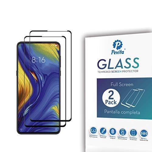 Pevita Protector de Pantalla Compatible con Xiaomi Mi Mix 3. [2 Packs]. Dureza 9H, Sin Burbujas, Fácil Instalación. Protector de Pantalla de Cristal Templado Premium para Xiaomi Mi Mix 3