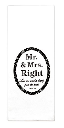 Brownlow Gifts 100% Cotton Dish Towel with Scripture, Mr. and Mrs. Right