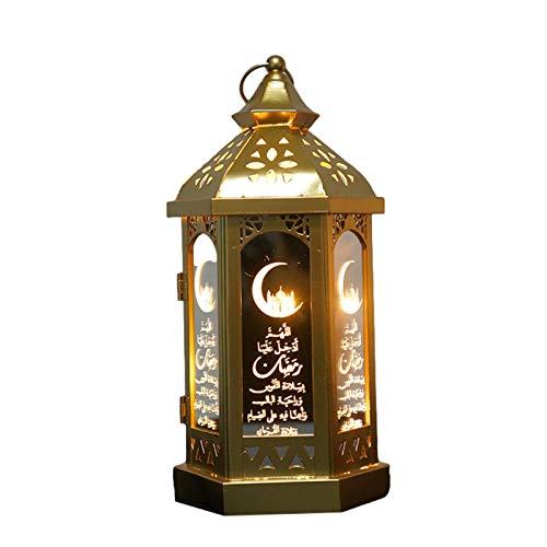 ampusanal 2021 Ramadan LED Lighthouse Mosque Lantern Eid Mubarak Festival Warm Light Decoration Iron Crafts Desktop Eid Mubarak Decoration Responsible