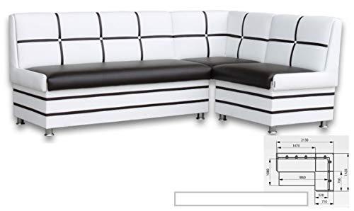 Eckbank Korsika Sitzbank 213x142 cm Essecke Kunstleder Schwarz/Weiss mit Stauraum