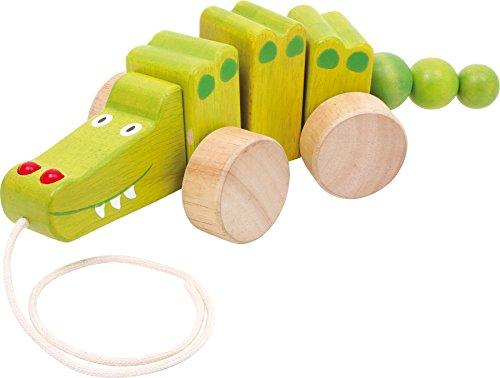 Small Foot 2019967 2604 Ziehtier Krokodil aus Holz, fördert das Laufenlernen, wackelt beim Hinterherziehen, ab 1 Jahr