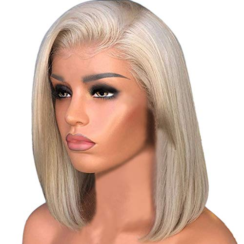 Wigs For Women Cheap, Short Hair Brown Gradient Bleached Wig With Baby Hair Human Full Wig Hair For Black Women (Gold)